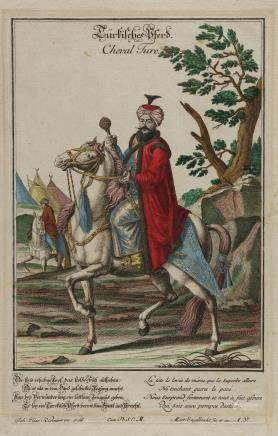 An ottoman hand coloured print depicting a ruler on a white Arabian horse