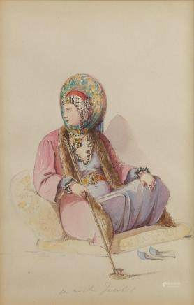 A watercolour representing a seated ottoman woman