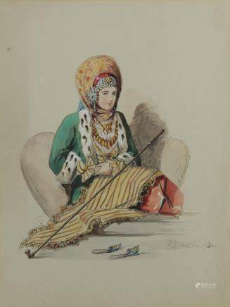 A watercolour representing a seated ottoman jewish lady
