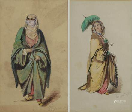 Two watercolours representing a standing lady