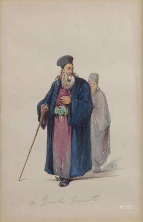 An orientalist painting depicting a Greek priest from Constantinople, Amadeo preziosi