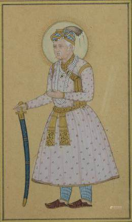 An Indian Moghul miniature depicting a Shah holding his sword