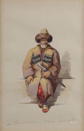 A watercolour representing a seated caucasian warrior