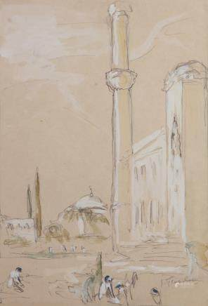 Two drawings. Open place with minaret and Minarets by mosque