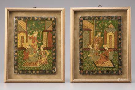 Two Islamic lacquered paintings