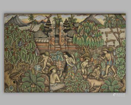A Ubud painting depicting farmlands and a temple