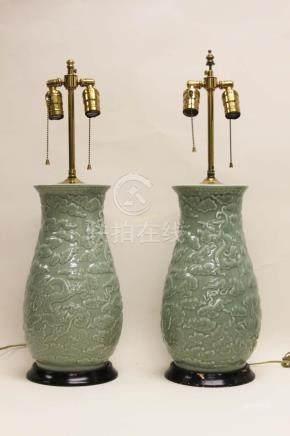 Pr Chinese Celadon Dragon Cloud Vase Form Lamps