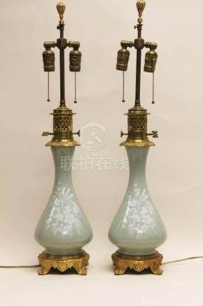 Pair Celadon Glazed & Dore Bronze Table Lamps