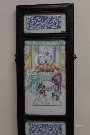 Antique Chinese Panel w Famille Porcelain Tiles