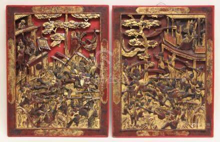 19c Chinese Gold & Lacquer Carved Hardwood Panels