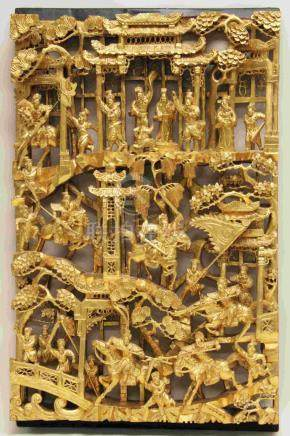 Antique Chinese Carved Wood Panel w Battle Scene