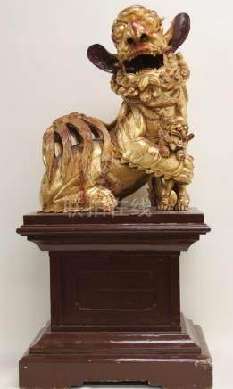 Large Chinese Lacquered & Gilt Wood Shishi Lion
