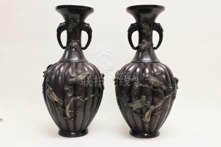 Pr Japanese Meiji Period Vases w Birds & Blossoms