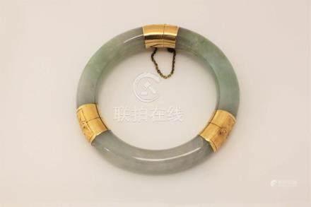 Oriental 14k Gold & Jade Bracelet