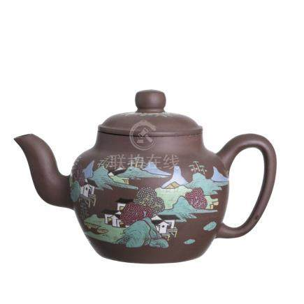 Cinise Yixing large teapot with 'landscape'