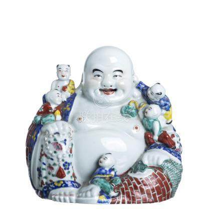 Smiling Buddha with children, Minguo