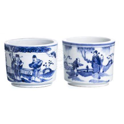 Pair of chinese porcelain brushpots, Minguo
