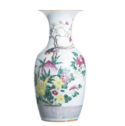 Vase 'bird among flowers' in Chinese porcelain, Tongzhi