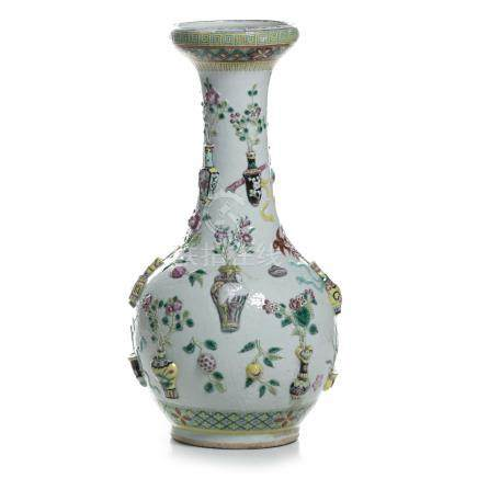 Chinese porcelain 'precious objects' vase, Tongzhi