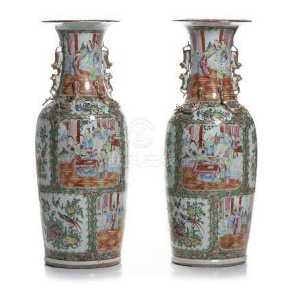 Pair of 'Mandarin' Vases in China Porcelain, Guangxu