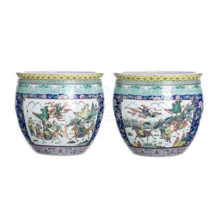 Pair of chinese porcelain fishbowls, Tongzhi