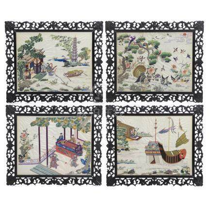 Four Chinese silk embroidered panels, Minguo