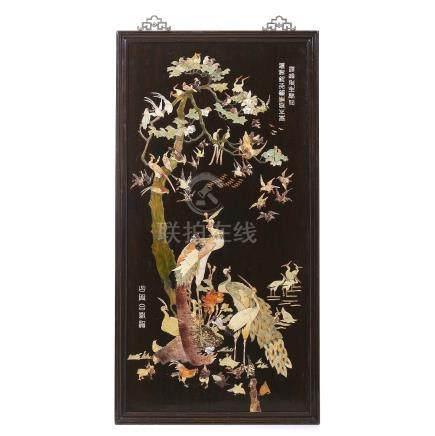 Chinese hongmu panel with hard stones 'birds', Republic