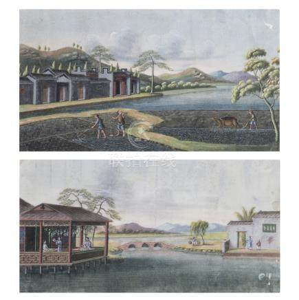 CHINESE SCHOOL, 19th century — Pair of paintings