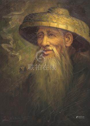 J. CHAN (20th C) - Portrait of old man