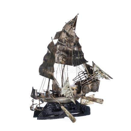 Chinese Silver Sailing Boat