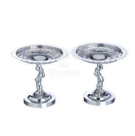 Pair of bowls with foot in chinese silver
