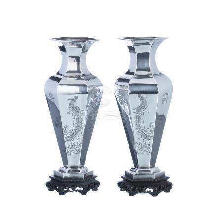 Pair of hexagonal vases in chinese silver