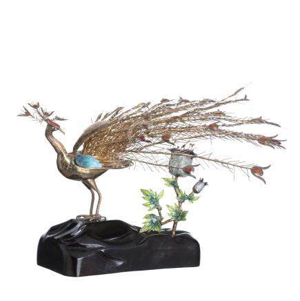 Peacock in Chinese silver
