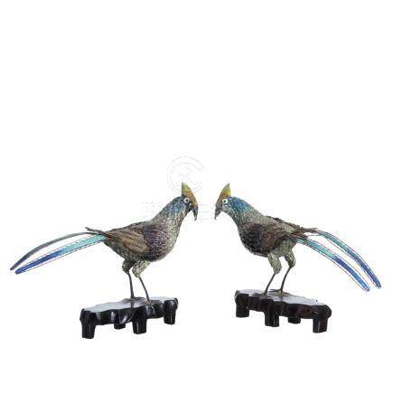 Two pheasants in Chinese silver