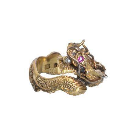 ZEE WOO - Gold ring with Imperial dragon