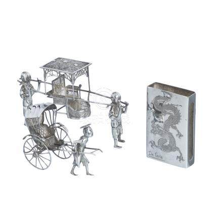 Two miniatures and phosphorus box in chinese silver