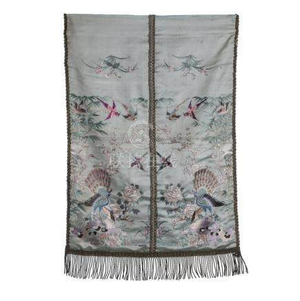 Chinese embroidery on silk 'peacocks and birds among flowers'