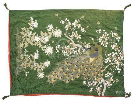 Chinese Peacock Embroidered Quilt