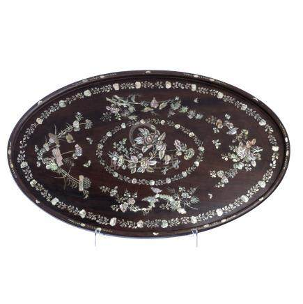 Chinese oval inlaid tray
