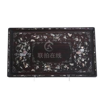 Chinese rectangular inlaid tray