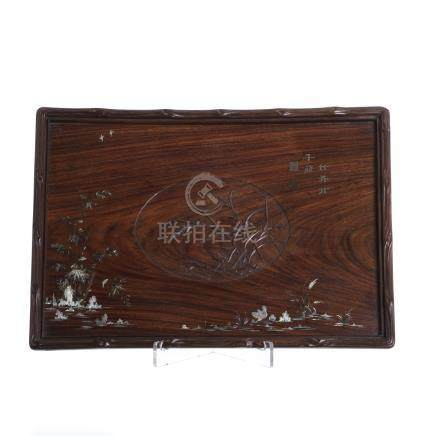 Chinese inlaid tray in hongmu