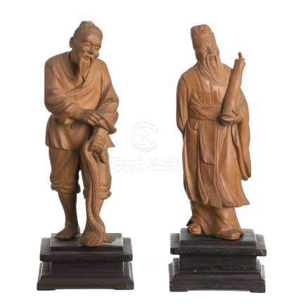 Two chinese wooden sculptures, scholar and fisherman