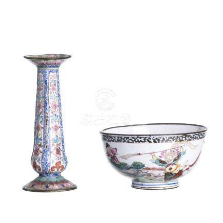 Chinese enamel bowl and incense holder, Canton