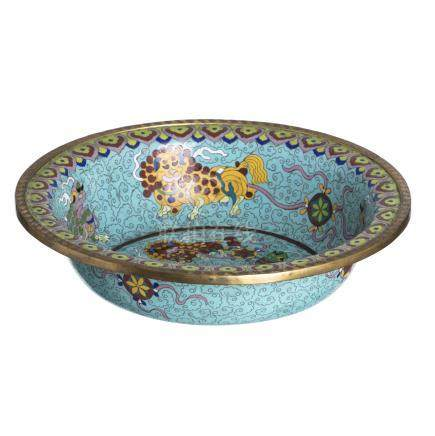 Basin in cloisonne metal
