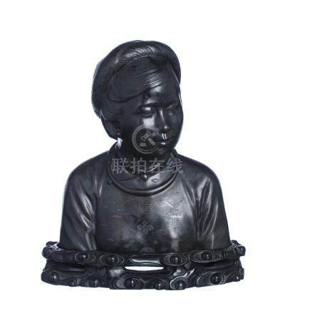 Bust of girl in bronze, China