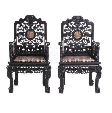 Pair of Chinese armchairs