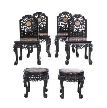 Set of eight chairs and two stools