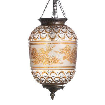 BACCARAT (Attribution) - 'Chinese' glass lantern