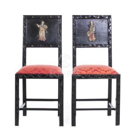 Pair of chairs with hard stones
