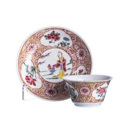 Teacup and saucer figure in porcelain, Yongzheng
